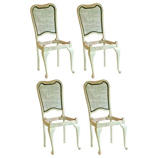 Mint Green Solid Oak Vintage Dining Chairs - S/4
