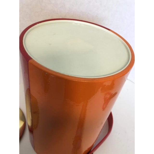 Mid-Century Red & Orange Striped Vinyl Ice Bucket - Image 3 of 6