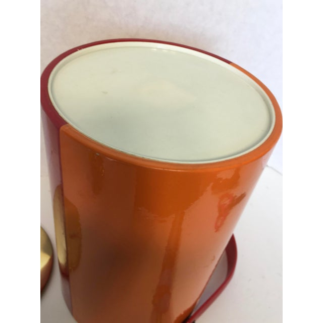 Image of Mid-Century Red & Orange Striped Vinyl Ice Bucket
