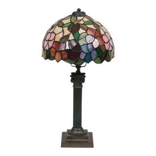 Tiffany Style Vintage French Lamp with Handle Base