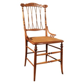 Antique Carved Chair With Caned Seat