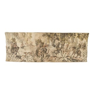 Antique French Hunt Tapestry Vintage Dutch' Belgian' Flemish Colonial Safari Tapestry