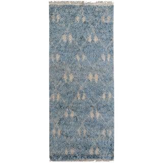 Moroccan Arya Horacio Blue/Ivory Wool Rug - 2'7 X 6'6