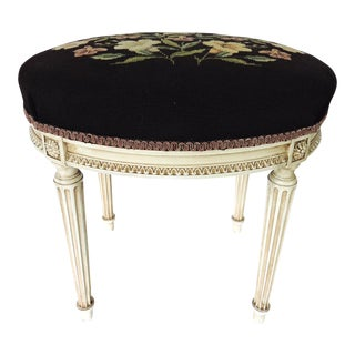 Vintage French Oval Needlepoint Stool