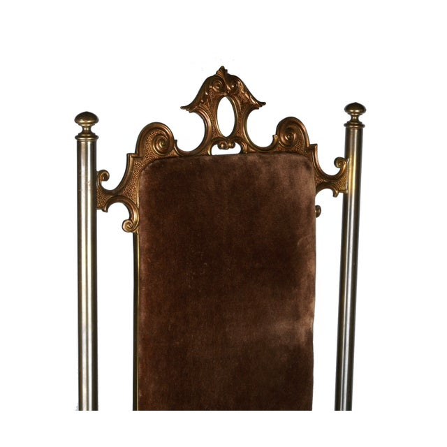 Vintage Brass & Brown Velvet Vanity Accent Chair - Image 3 of 7