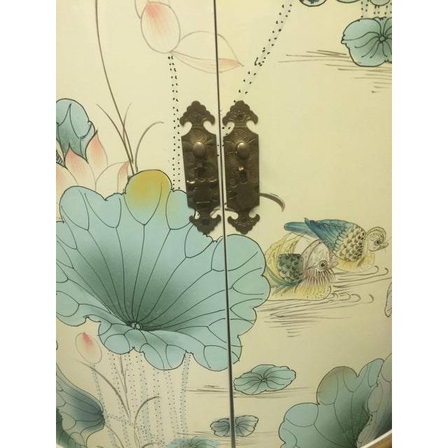 Asian White Lacquer Hand-Painted Corner Cabinet - Image 3 of 6