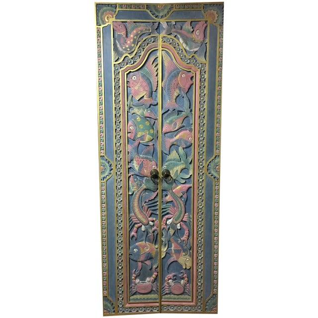 Balinese Hand Carved Sealife Motif Door Panels - Image 1 of 9