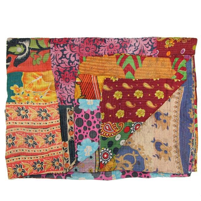 Image of Vintage Multi-Colored Kantha Quilt