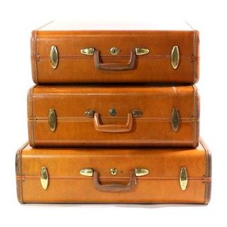 1940s Leather Suitcase Set, Vintage Samsonite