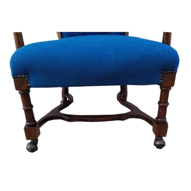 Hollywood Regency Wood Desk Chair with Caning - Image 4 of 6