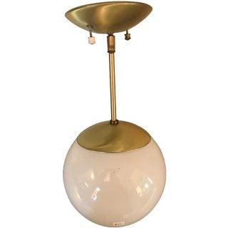 Mid-Century Brass / White Globe Ceiling Light