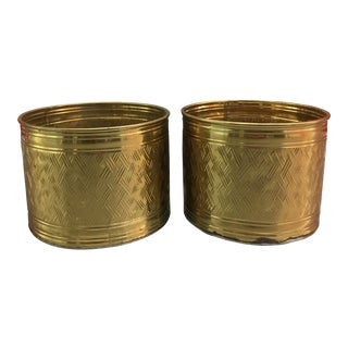 Brass Basket Weave Planters - A Pair
