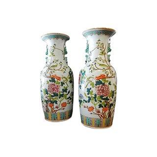 Vintage Porcelain Famille Verte Vases W/ Peacocks - A Pair