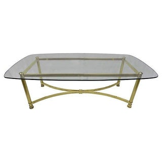 Hollywood Regency Glass-Top Coffee Table