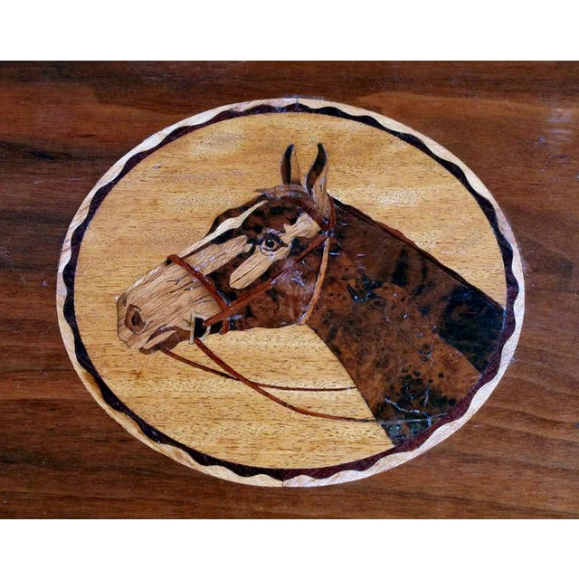 A Charming and Well-Executed American 1940's Folk Art Mahogany Inlaid Rectangular Tray on Stand - Image 1 of 3