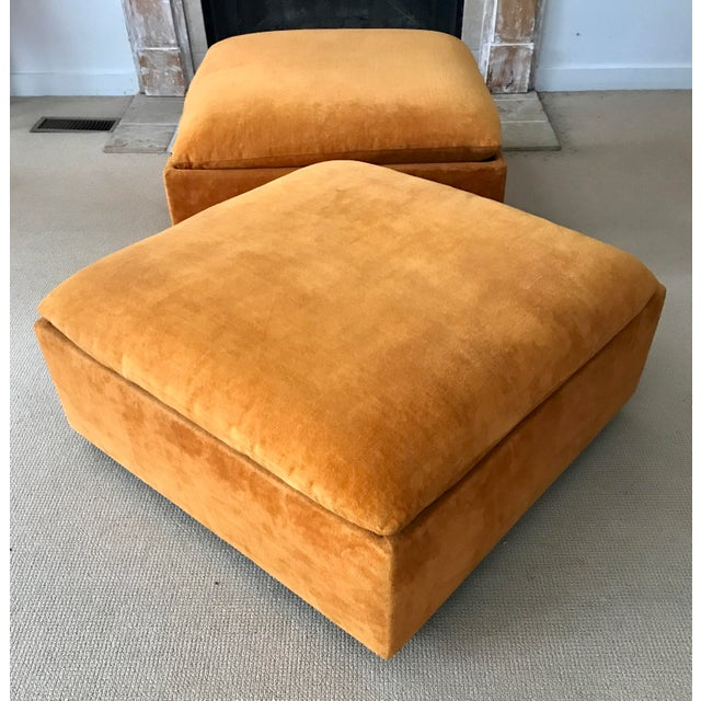 Vintage Mid-Century Orange Velvet Ottomans - A Pair - Image 2 of 10