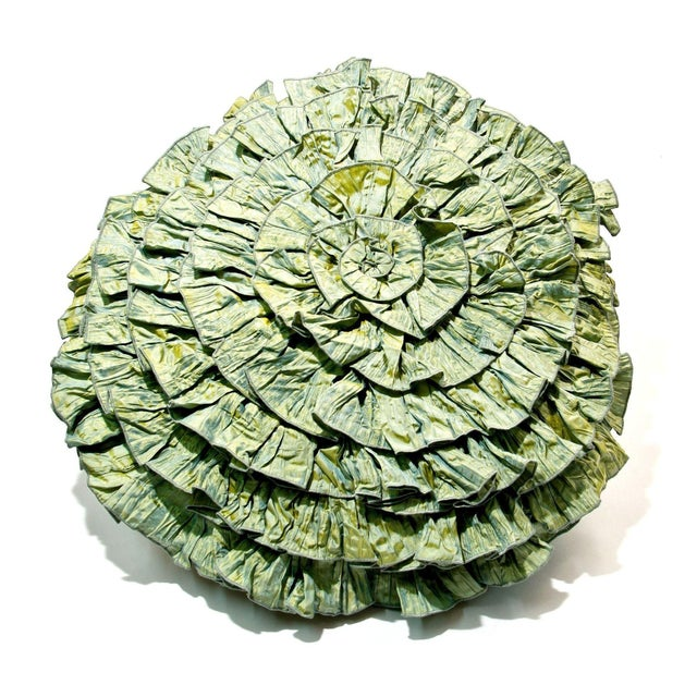 Image of Anne Gish Silk Pillow with Ruffles in Green