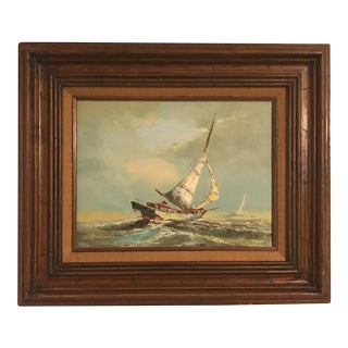 Vintage Nautical Ship Oil Painting