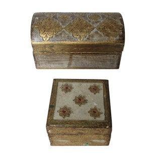 Vintage Florentine Gold Boxes - A Pair