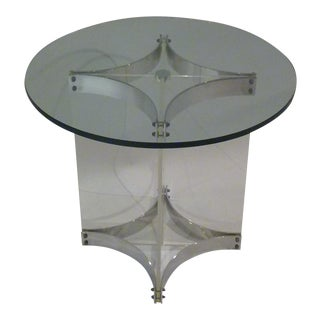 Alessandro Albrizzi Lucite Glass and Chrome Side Table