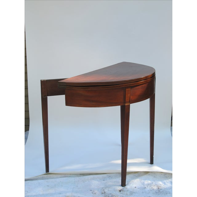 Sheraton-Style Demilune Rosewood Game Table - Image 6 of 11