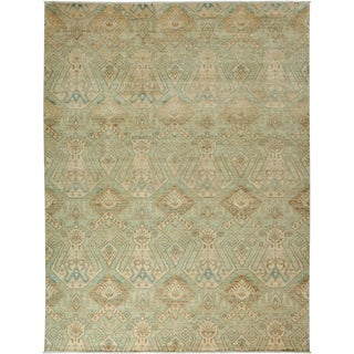"""Eclectic, Hand Knotted Green Wool Area Rug - 9' 0"""" X 11' 10"""""""