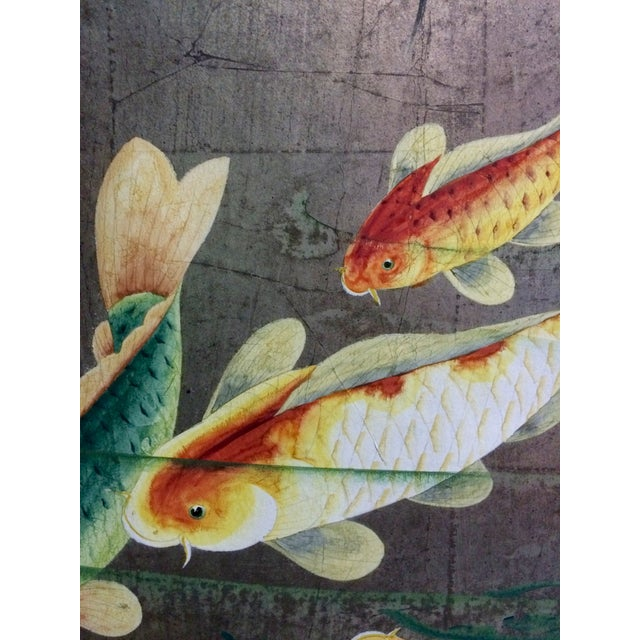 Gold koi fish lily pads folding screen chairish for Gold koi for sale