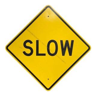Vintage Reflective Slow Traffic Caution Construction Sign
