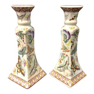Vintage Asian Candle Holders - A Pair