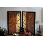 Image of Vintage Framed Ceremonial Tapa Cloth - A Pair