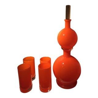 Studio A Lava Orange Decanter & Glasses Set - S/5