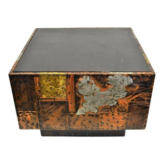 Paul Evans Copper, Bronze & Pewter Slate Top Cube Table