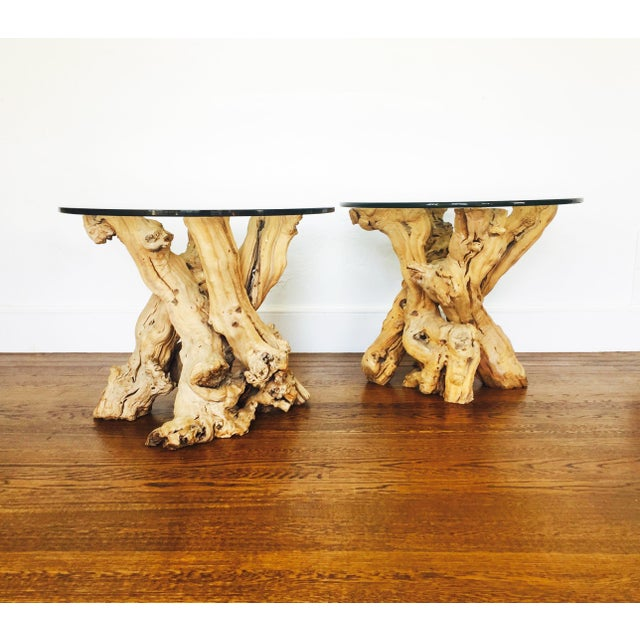 Image of Vintage Grape Vine Side Tables - a Pair