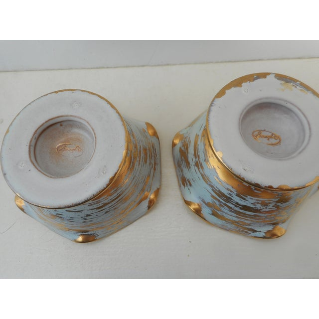 Image of Blue And Gold Stangl Candleholders - Pair