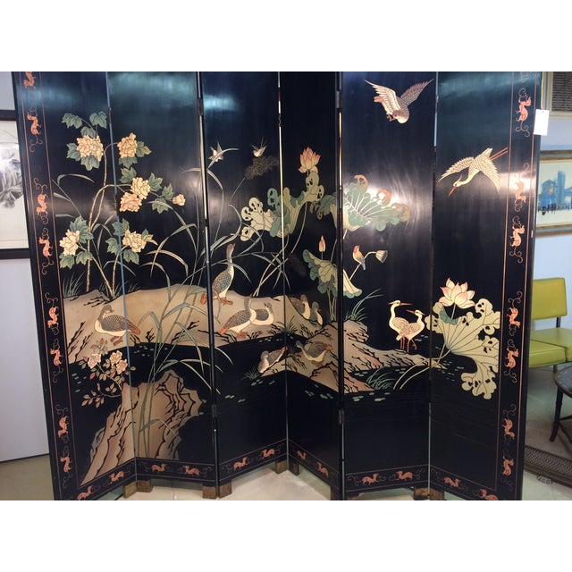 6 Panel Coromandel Folding Asian Screen - Image 3 of 8