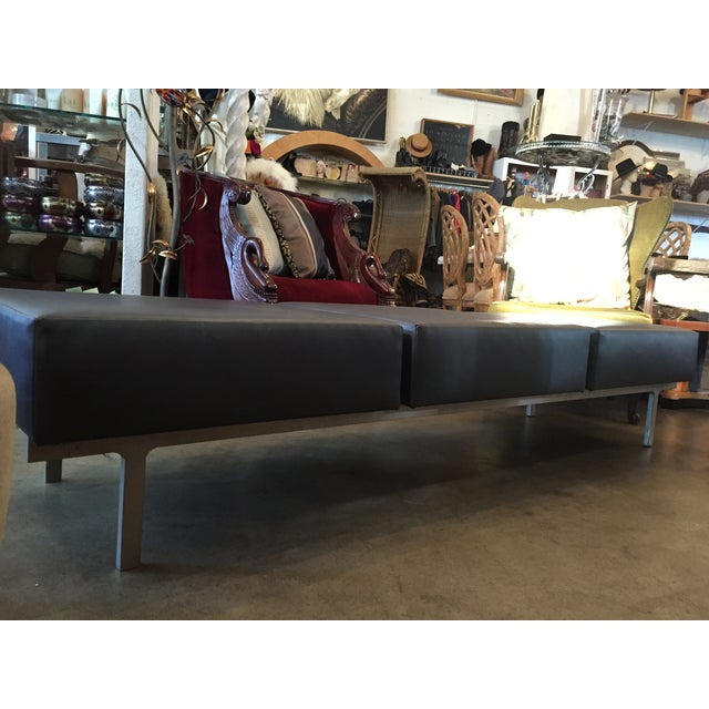 80s Keilhauer 3 Seat Indsutrial Modern Grey Bench - Image 4 of 10