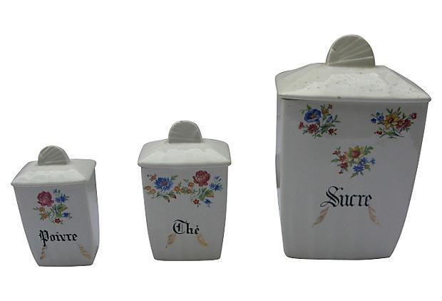 french porcelain kitchen canisters set of 3 chairish