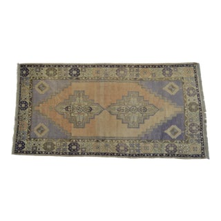 "Hand-Knotted Vintage Distressed Area Rug - 3'7"" x 7'1"""