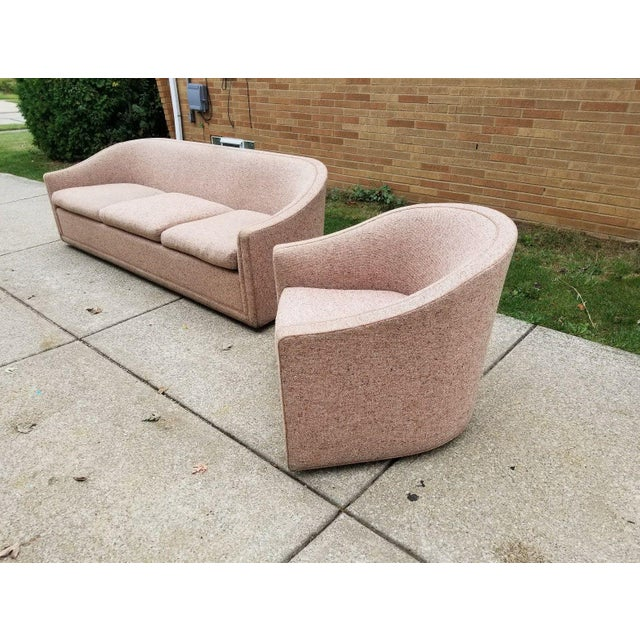 Larsen Furniture Jack Lenor Larsen Low Sofa and Swivel Lounge Chair - A Pair - Image 4 of 11