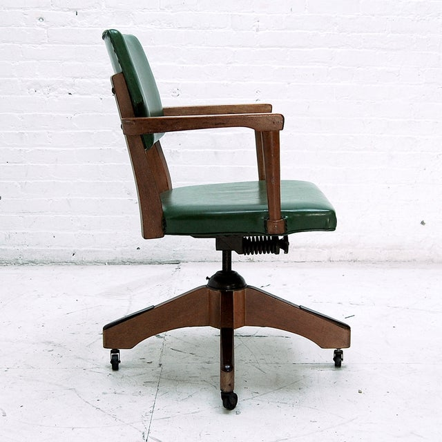 Mid Century Swivel Desk Chair in Green - Image 4 of 6
