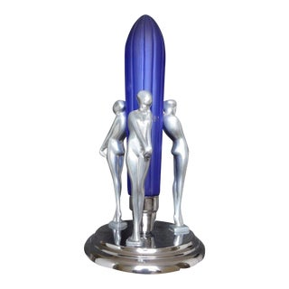 Sarsparilla Art Deco Blue Rocket 3 Nymphs Lamp