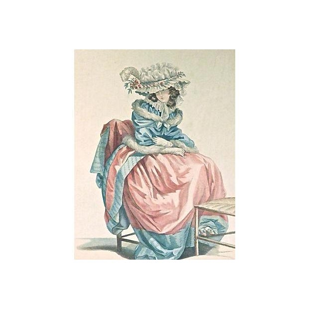 Image of Antique 19th Century Woman in a Dress Engraving