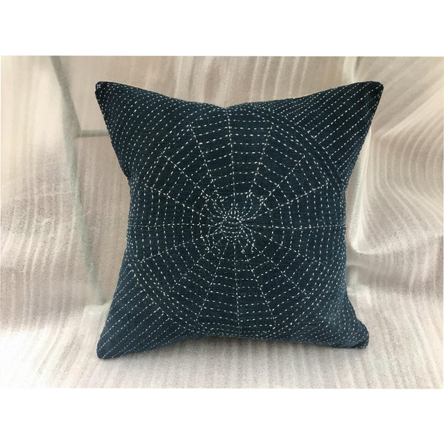 Antique Indigo Pillow with Hand Stitched Spider Web - Image 2 of 7