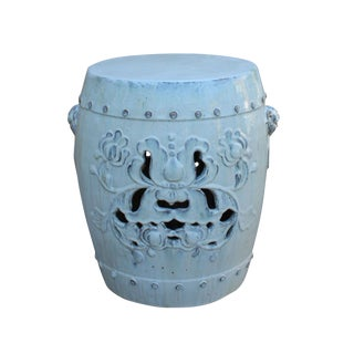 Chinese Off White Round Lotus Clay Ceramic Garden Stool Table