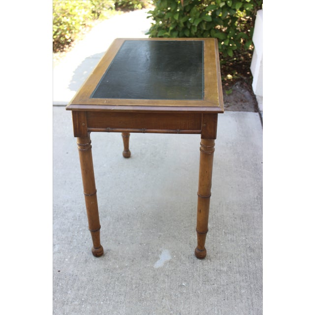 Faux Bamboo Desk with Leather Inlay - Image 9 of 11