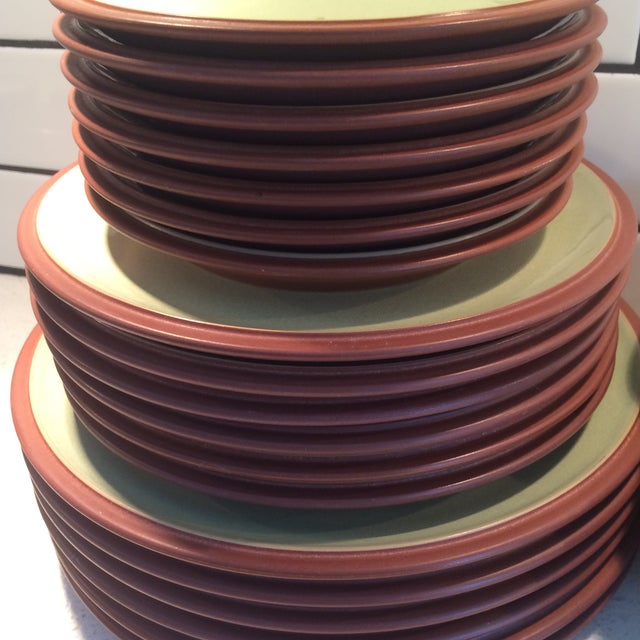 Image of Green and Brown Dinnerware - Set of 6