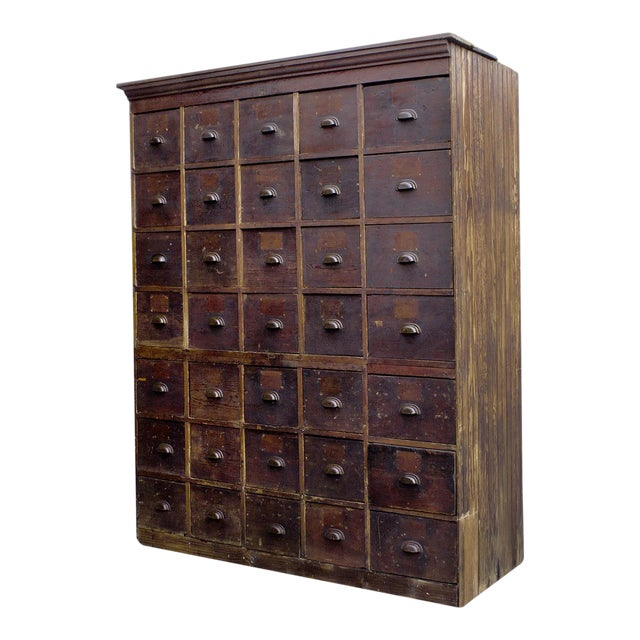 1890s Large Antique Multi-Drawer Storage Cabinet - Image 1 of 10 - 1890s Large Antique Multi-Drawer Storage Cabinet Chairish