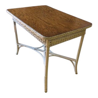 Wood Top Wicker Table