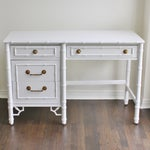 Image of Vintage Thomasville White Faux Bamboo Desk