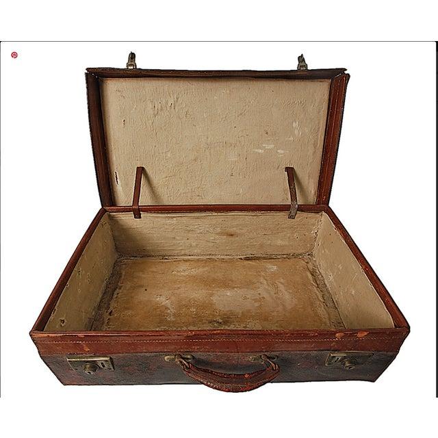 Vintage English Leather Suitcase - Image 2 of 4
